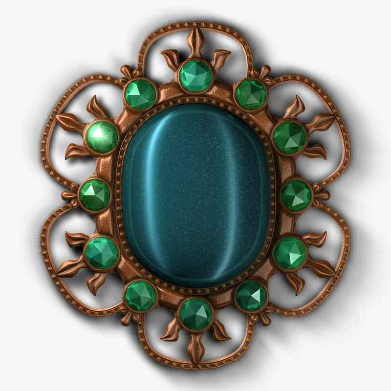 3d model brooch antique