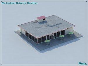 3d model classic drive-in theater