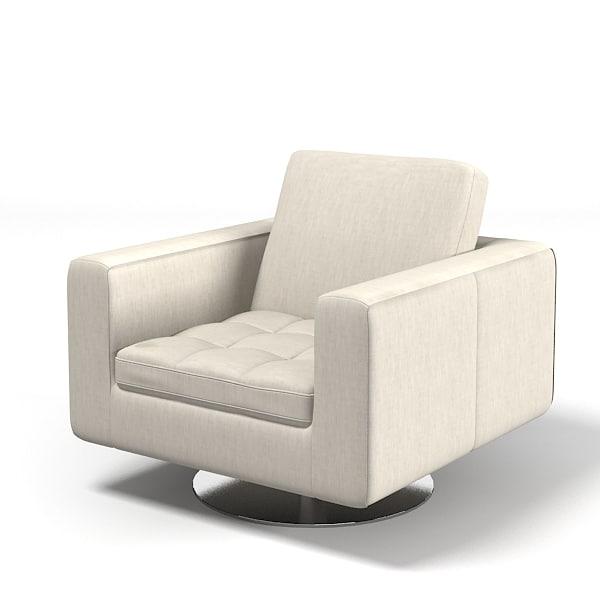 Natuzzi Savoyr Tufted Chair Armchair Swivel Club Modern Contemporary