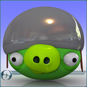 angry pig character cartoon 3d max
