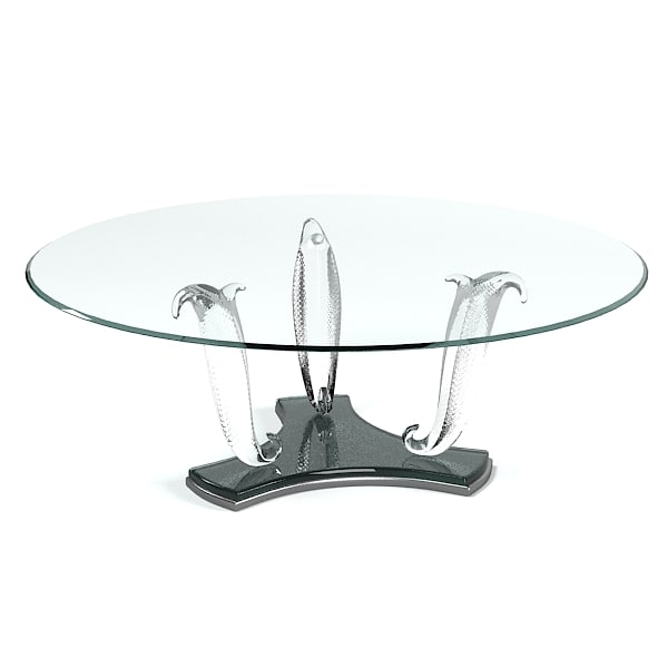 glass dining table 3d 3ds