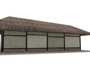 3d hut polygonal 2 model