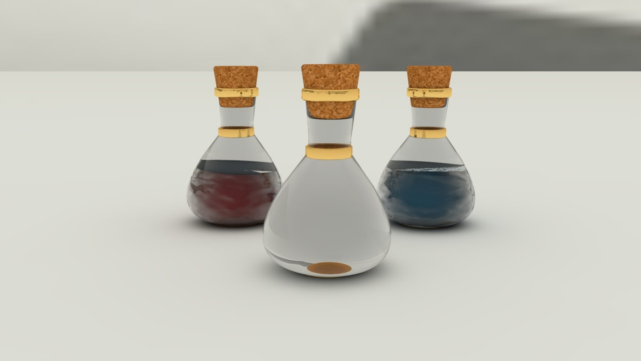 3d potion glass bottle model