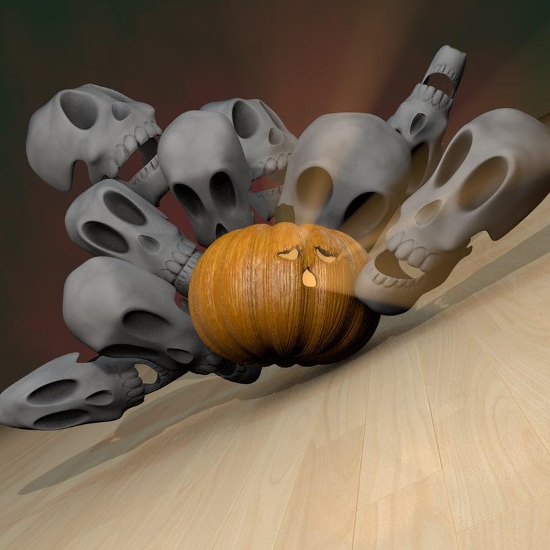 c4d bowling pumpkin halloween