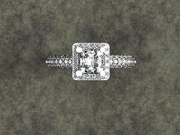 Princess cut center with halo pave diamonds