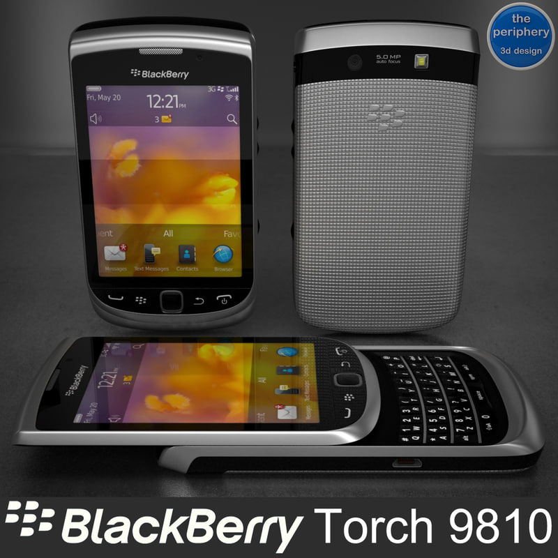 blackberry torch 9810 smartphone 3d model
