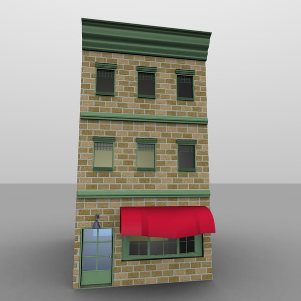 3d townhouse mainstreet store model