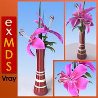 3ds pink vase