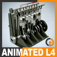 animation l4 16v engine 3d model