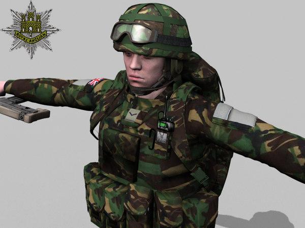 rigged british soldier royal 3d max