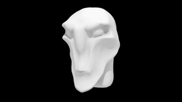 basic alien head 3d obj
