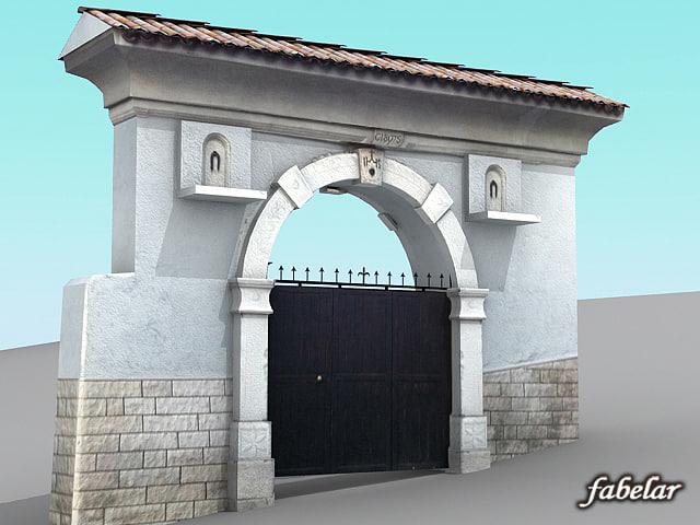 italian villa main entrance 3d model
