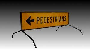3d road pedestrians sign