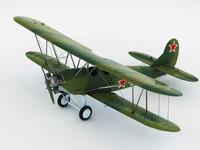 3d model of polikarpov po-2 soviet biplane