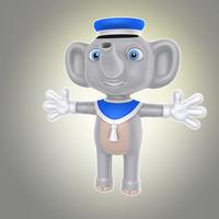 3d simple cartoon elephant