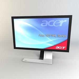 3d model s273hl acer monitor