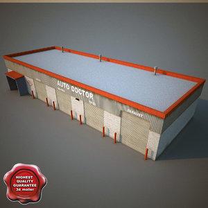 3d car service building model