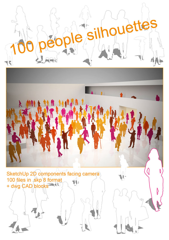 100 people silhouettes for SketchUp