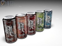 3d model energy drink relentless cans