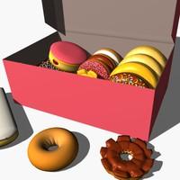 3d model box donuts
