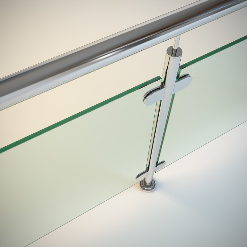 3d steel railing glass model
