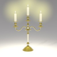 3d model old candlestick candles