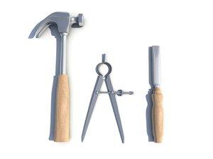 obj hammer calipers chisel
