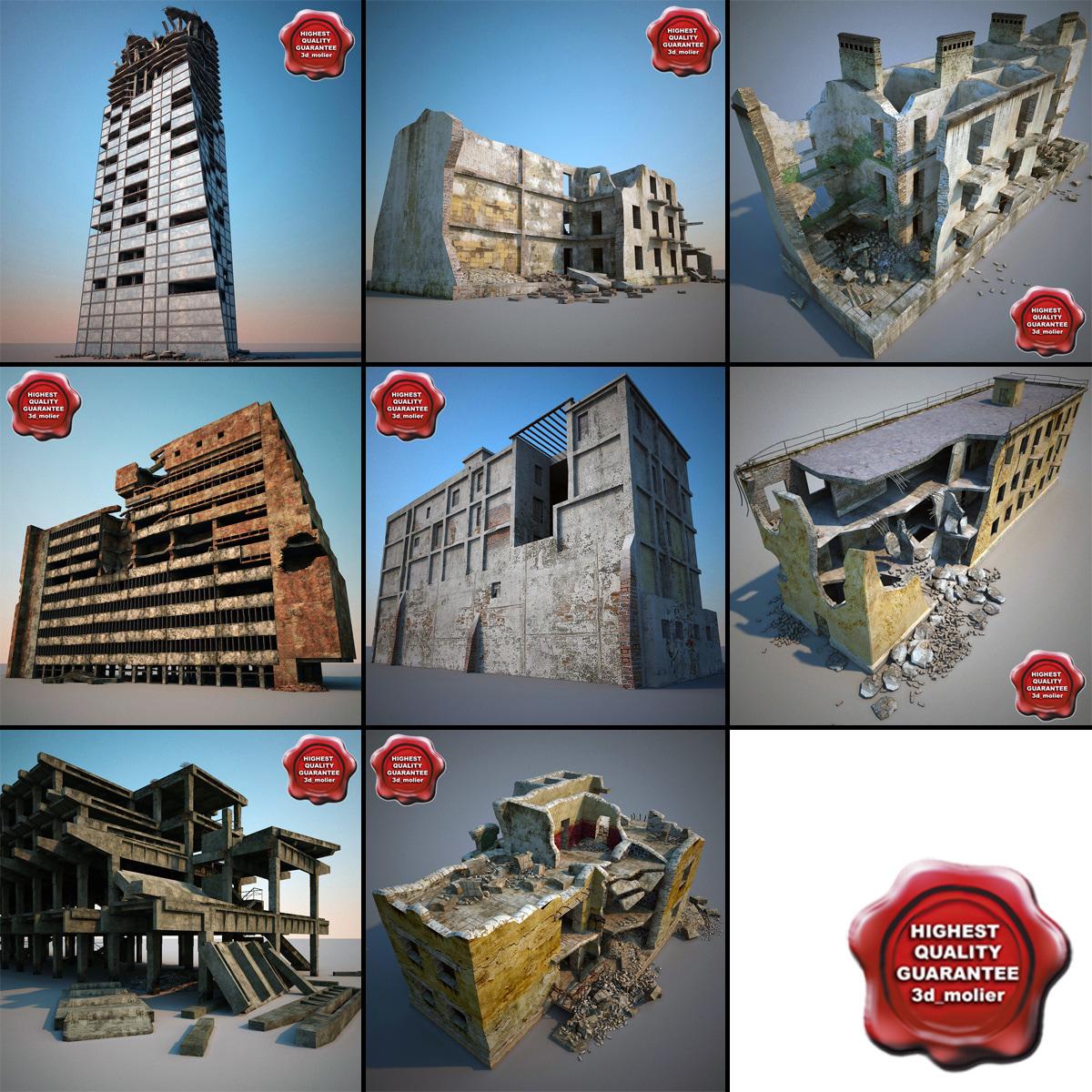 3d destroyed houses v3 model