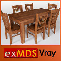 Dining Table & 6 Chairs (vray)
