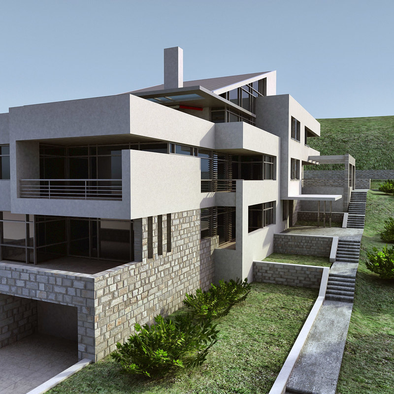 3d model modern building for Modern house construction