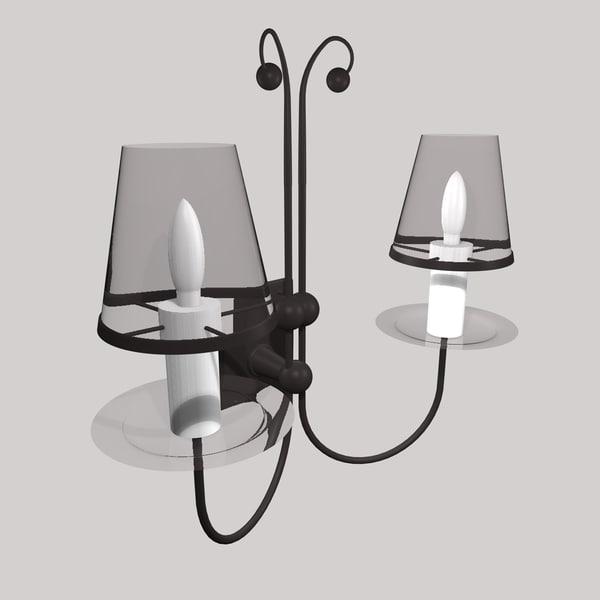 3d model gothic wall lamp light