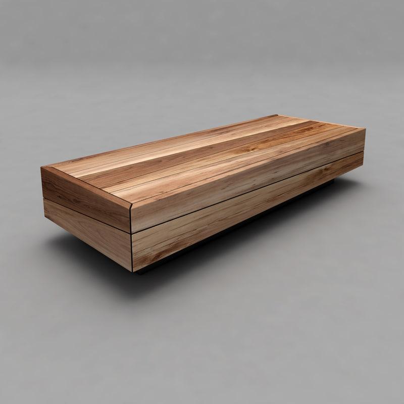 3d wood bench