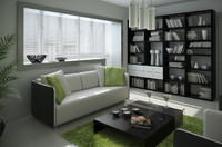3d model modern living room interior