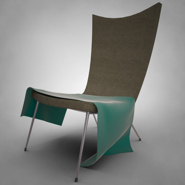 3d modern lounge reading chair