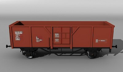 3d open railcar el-u 061 model