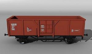 3d open railcar el-u 061 model