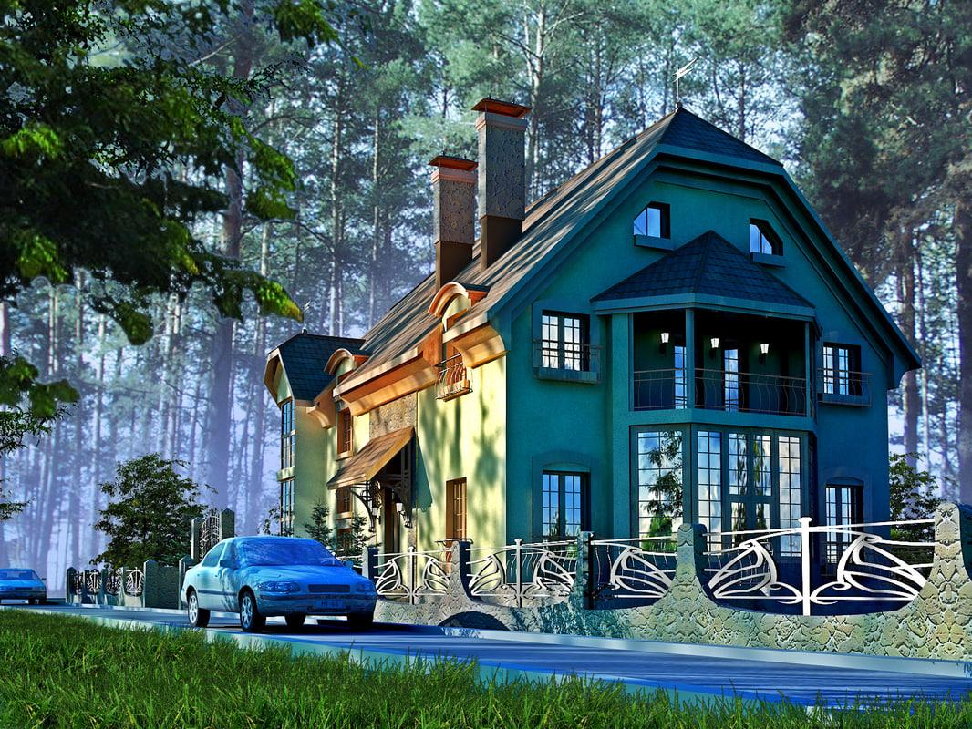 house woods 3d c4d