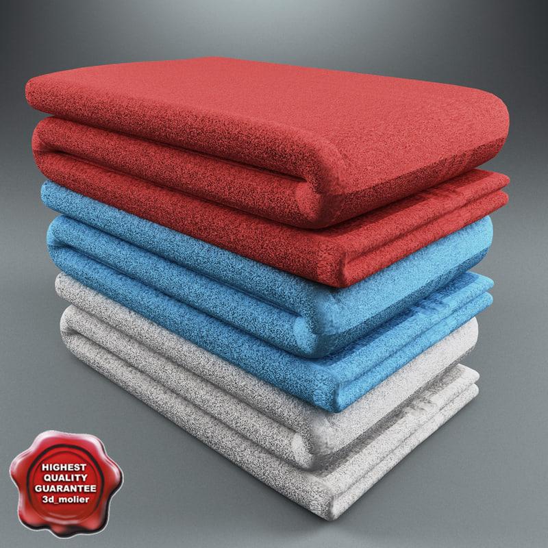 3d model bath towels v1
