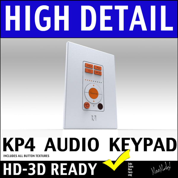3d model of russound kp4 home wall mount