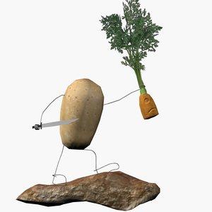 free potato carrot battle 3d model