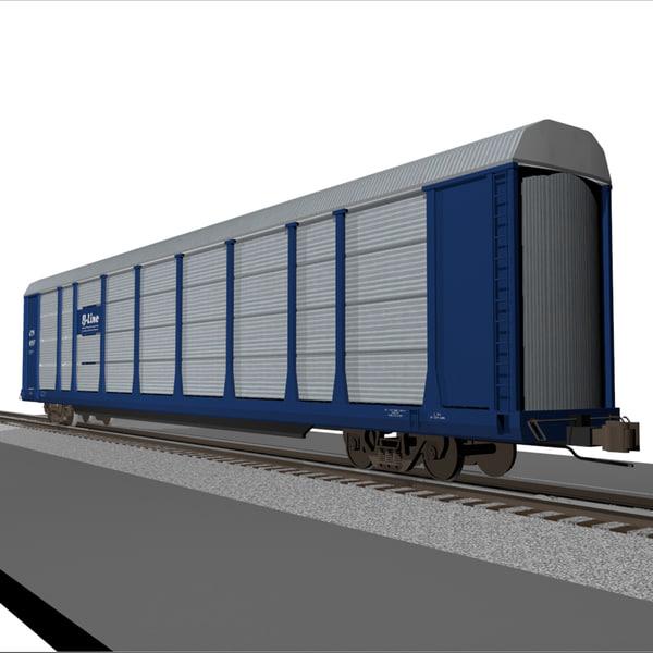 3d train car autorack model