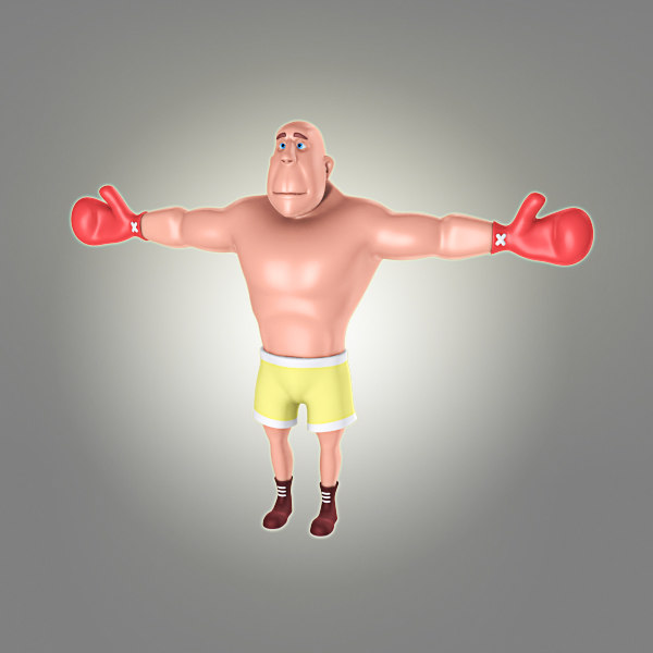 cool cartoon boxer obj