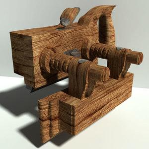 antique wood plow plane 3d model