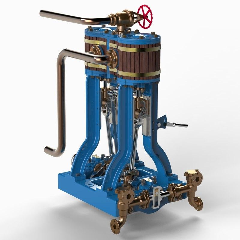 x launch engine steam 3d model