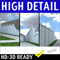 3d model wood privacy fence