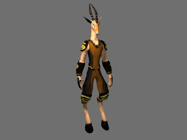 gazelle man character 3d model