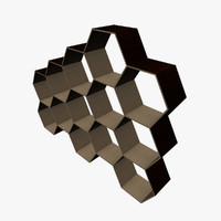 3d model hexagonal shelving shelfs
