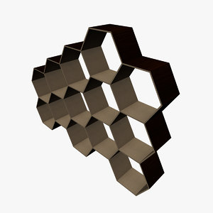 3d model hexagonal shelving shelfs
