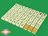 mahjong mahj tile set 3d model