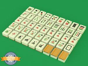 mahjong mahj tile set 3d model